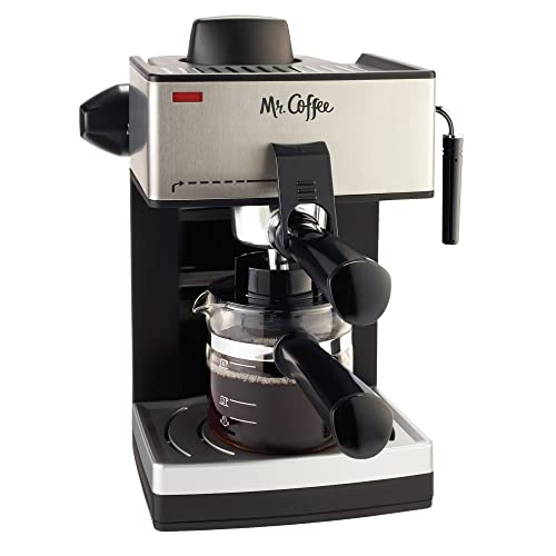 Mr Coffee Machine. This sleek looking espresso machine is black and silver, and sized to conveniently fit on most surfaces.