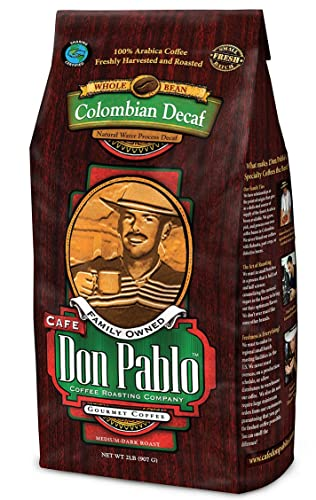 Image of the packaging of Don Pablos Colombian Decaf Coffee. Rated the best decaf coffee by Fourth Estate.