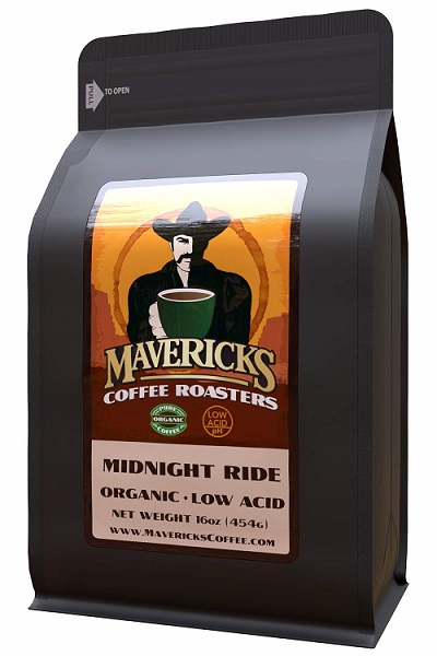 Image of a bag of Mavericks organic coffee, rated as one of the best by Fourth Estate.